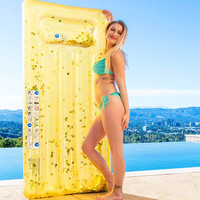 New Sequin Floating Row Shiny Crystal Adult Water Inflatable Floating Row Water Inflatable Bed Swimming Pool Party Toys