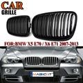 MagicKit двойной линией гоночный автомобиль гриль E70 E71 решетка для BMW X5 X6 SUV 4 двери решетки 2-планка ABS черный глянец Цвет стайлинга автомобилей ...