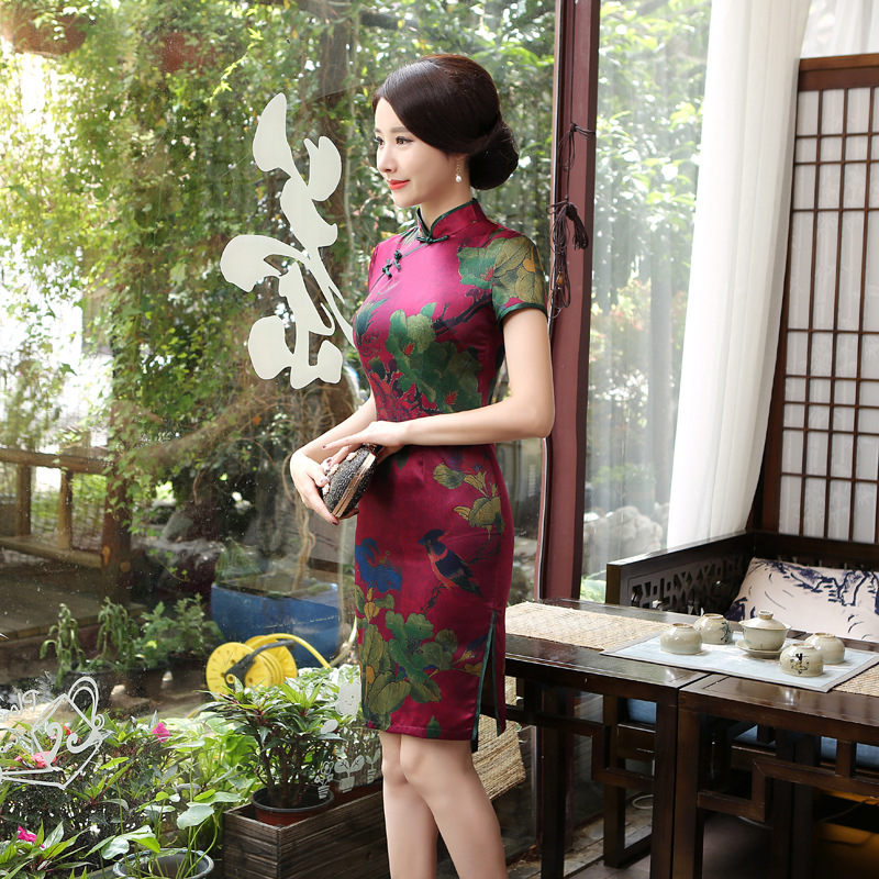 A Generation Of Fat LGD124 New Style Improved Cheongsam Mid-length Dress WOMEN'S Dress Slim Fit Retro Chinese-style Day