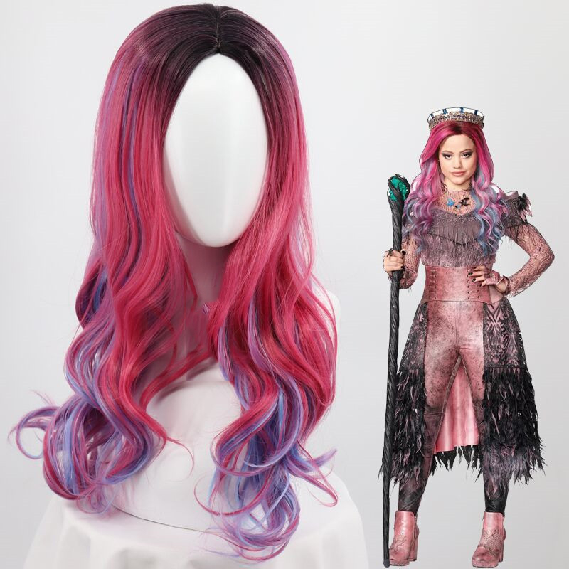 Descendants 3 Audrey Cosplay Wig Women Mixed Colors Synthetic Hair Wig Children and Adult Costume Role Play Wigs+Free Wig Cap