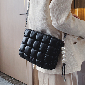 Image 3 - Simple and Soft Fashion Pu Leather Pearl Women Shoulder Bag Handbag Crossbody Bag Purses Female Tote Bag Clutch Bag  Pouch