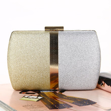 Fashion Luxury Women Patchwork Evening Bags Metal Chain Clutches Dinner Party Wedding Bags Purses Female Simple Clutch Handbags