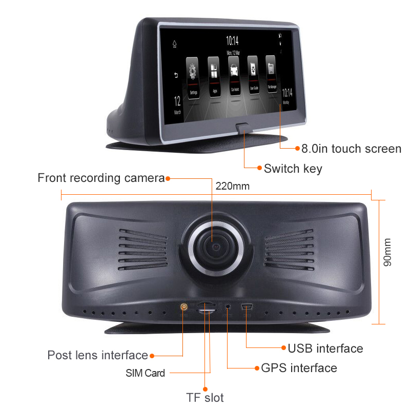 Najlepiej 8 cal samochodowa nawigacja GPS 4G kamera DVR z systemem Android 5.1 DVR rejestrator wideo 1080P HD Dash Cam Night Vision z widok z tyłu aparatu
