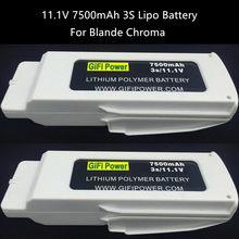 2 pces atualizar 11.1v 7500mah lipo bateria para blande chroma rc zangão peça de reposição estável saída atual peso leve grande capacidade