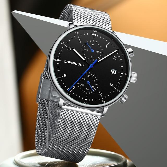 Relojes para hombre de 2019 Crrju estilo moderno cuarzo hombre, reloj malla, correa lujo impermeable relojes envío directo