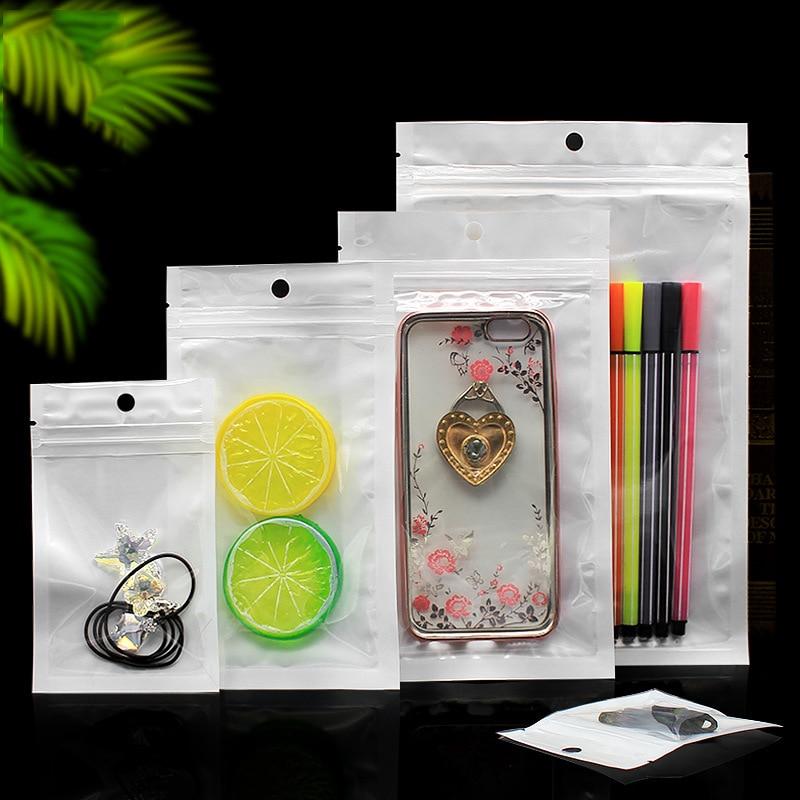 Self-Adhesive Ziplock Bags White Jewelry Packing Water Proof Bag Zip-Lock Sachet Zip Empaque Para Joyeria Wholesale 200pcs