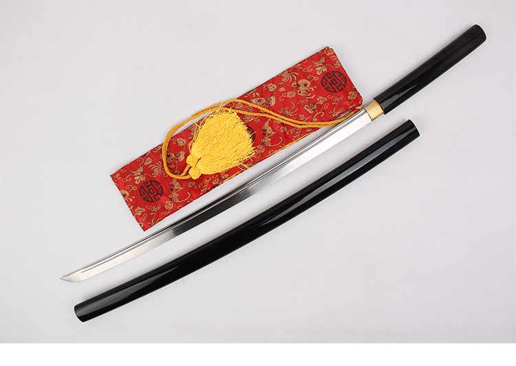 1045 acero al carbono espada japonesa auténtica Katana Full Tang afilado negro Scabbard-104cm de madera