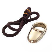 Polegar durável tiro com arco dedo guarda anel de proteção artesanal caça esportes ao ar livre latão ergonômico prático com corda