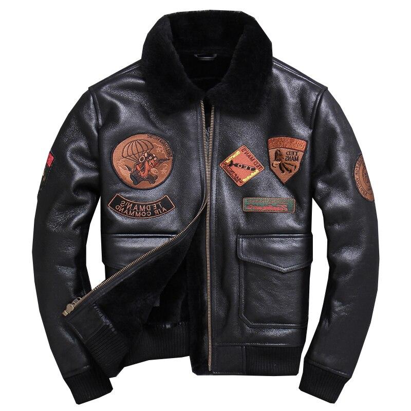 2020 Black Men Military Pilot Coat Plus Size XXXXL Autumn Russian Aviator Genuine Shearling Jacket FREE SHIPPING