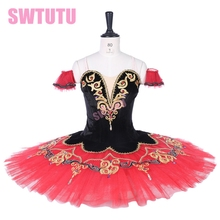 Performance Don Quixote Competition Costumes Adult Professional Black Red Ballet Tutu Lace Decorations BT9292