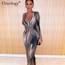 Chicology tie dye wave print lace up midi dress women long sleeve sexy 2019 autumn winter women party club bodycon lady clothes