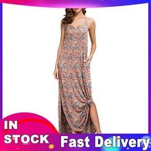 Long-Sling Dress Slit Pockets O-Neck Printing Ankle-Length HALTER Plus-Size Woman Woman