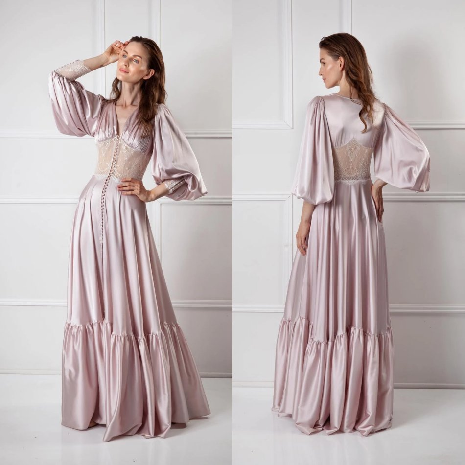 Custom Made Vintage Night Robe Lace Puffy Long Sleeves Ruched Women Sleepwear Nightgown Robes Sexy Homedress
