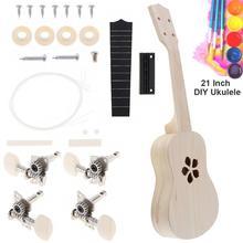 21 Inch Ukulele DIY Kit Basswood Soprano Hawaii Guitar with Sakura Sound Hole Handwork Painting for Parents-child Campaign