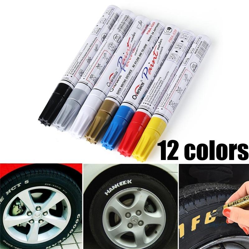 Colorido À Prova D' Água Caneta Pneu de Carro Do Pneu CD De Metal marcadores de Tinta Permanente Marcador Oleosa Caneta Graffiti Car Styling