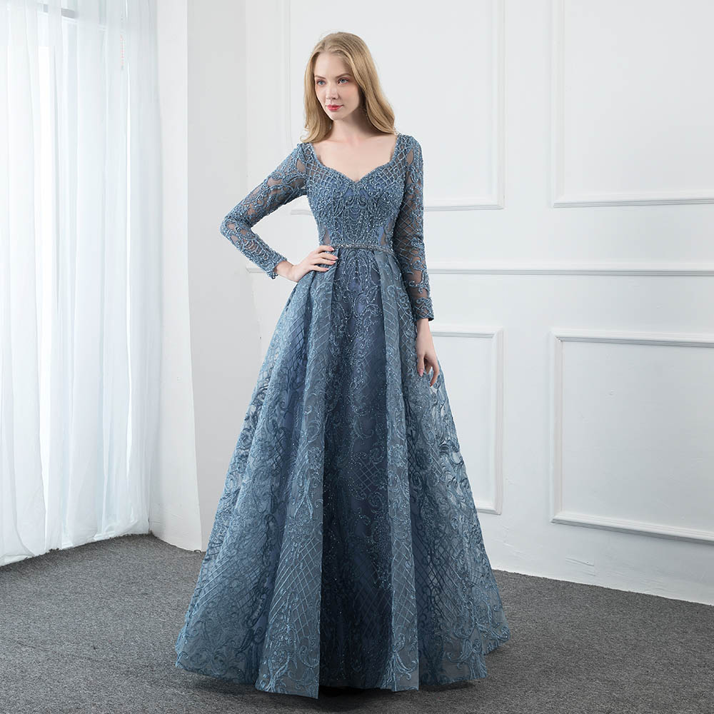 YQLNNE Dusty Blue Lace Embroidered Evening Dress Long Sleeve Formal Ball Gown Evening V Neck Crystal Beaded Dubai Dresses