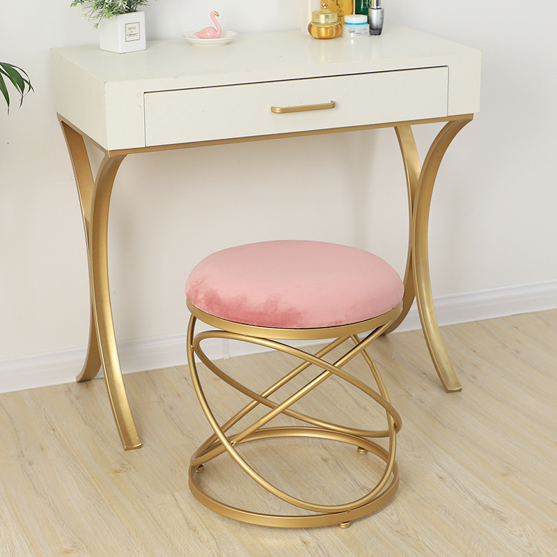 Cloth Cover Makeup Stool Dressing Stool Northern Europe Ins Wind Round Stool Beautiful A Shop Beauty Salon The Reception Stool