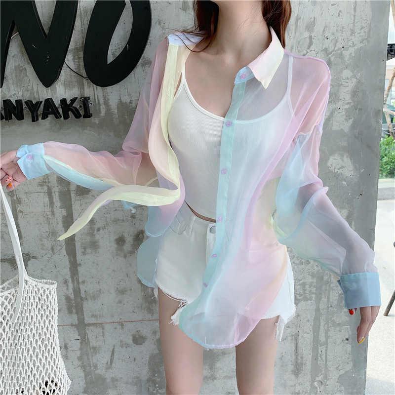 Regenboog Vrouwen Blouses Tops Shirts Crop Strand Plus Size Vintage Vadim Ropa Mujer Kawaii Kimono Vest Blusas Kobiety Bluzki
