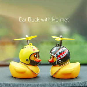 Car Ornament Creative Decoration Society Lovely Lucky Duck Funny Auto Dashboard Toys With Helmet And Chain Car Accessories