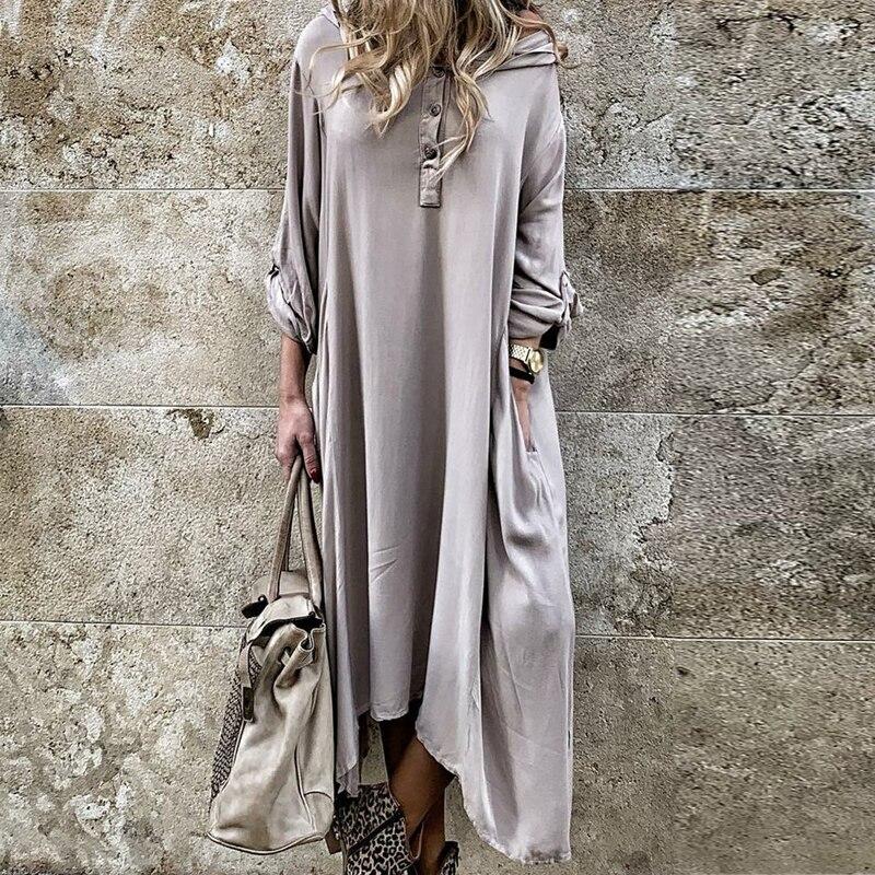 VIEUNSTA Women Boho Long Sleeve Irregular Maxi Dress Autumn Plus Size O Neck Long Party Dress Retro Solid Pocket Dresses Vestido
