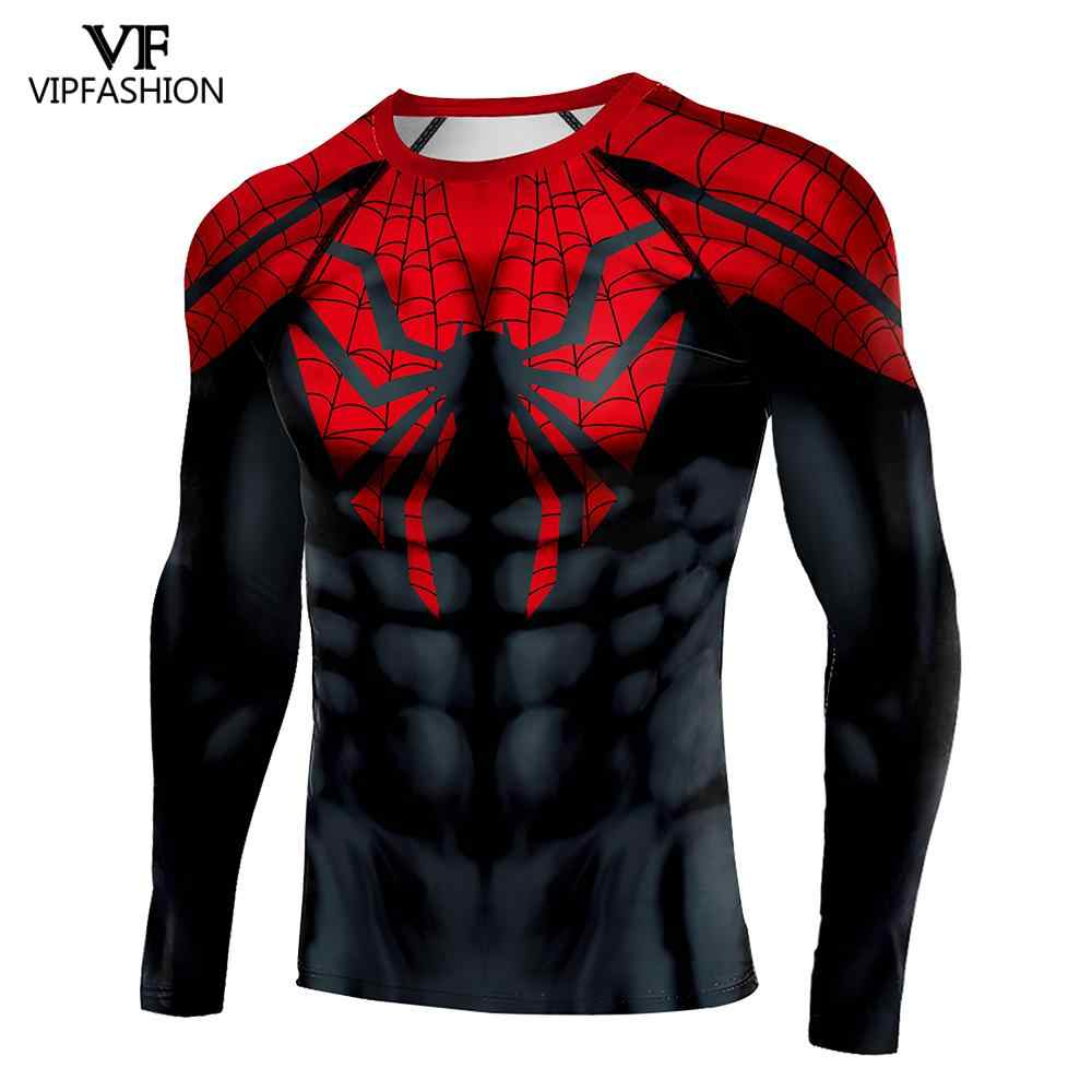 VIP FASHION New Black Spider T-shirt Avengers Costume 3D Print Superhero Compression Shirt Spider Man Superman T-Shirt Clothing