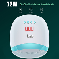 72W UV LED Nail Polish Glue Lamp Nail Art Gels Dryer Timer LCD Display Quick Dry Lamp for Nail Dryer Nails Manicure Tools