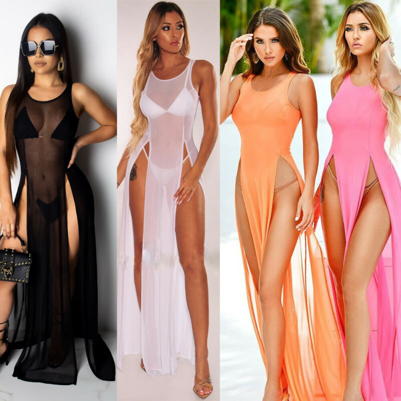 2020 Women's Bikini Swimsuit Cover Up Silk Summer Beach Wear Mesh Sheer Long Dress Summer Bathing Suit Holiday Hot One Piece