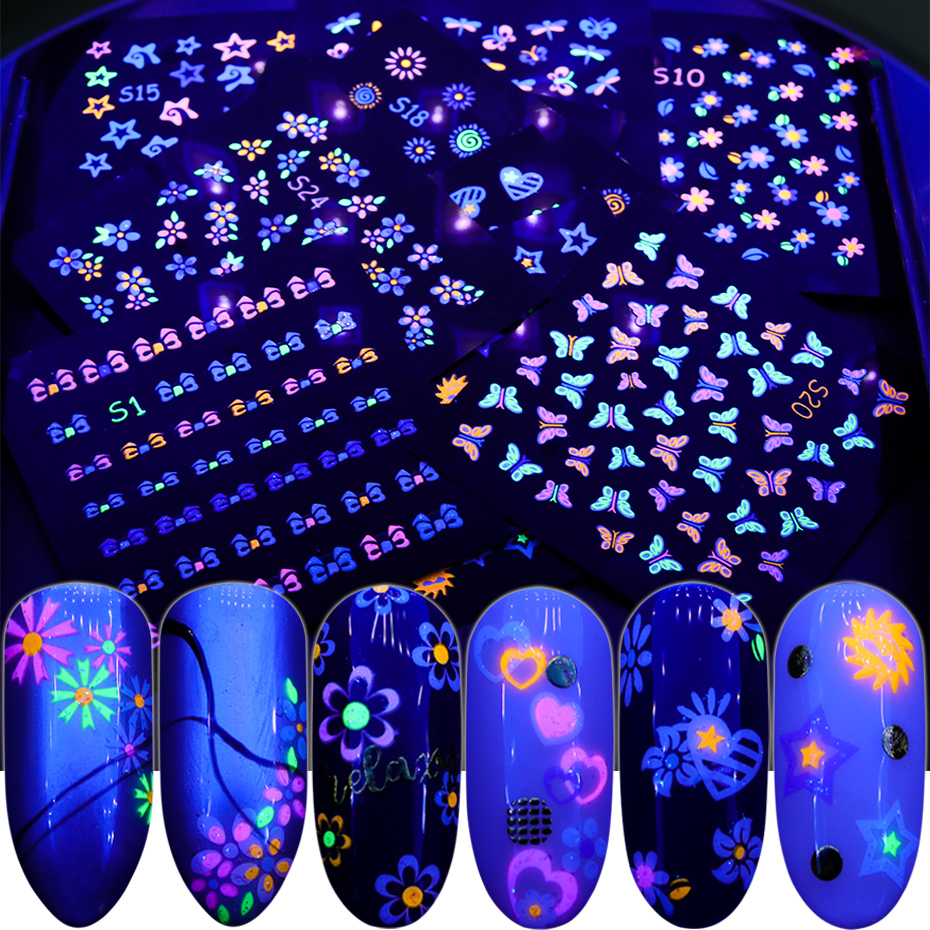24pcs Fluorescent Color Light Absorption Stickers Glowing Foils Butterfly Flower Star Slider Glow In The Dark Decal SAS1-24