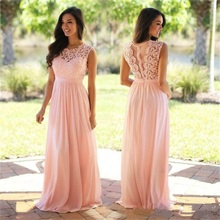 NUOXIFANG Pink Lace Chiffon Evening Dress 2020 Sheer Neck Lace Top Zipper Back Floor Length formal dress Wedding Guest Dresses buttoned split back sheer floral lace dress