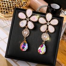 2019 Fashionable Elegant Flower Earrings Sweet Rhinestone Crystal Stone Pearl Tassel Long Women Drop Jewelry