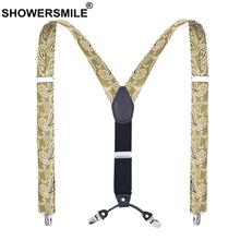SHOWERSMILE hafty szelki moda męska złote szelki dla mężczyzny 120cm 4 klipsy męskie szelki do spodni szelki szelki tanie tanio Poliester Dla dorosłych Drukuj Suspenders SG19062804 3 5cm Polyester Rubber Band Metal Leather Fashion Suspenders Print