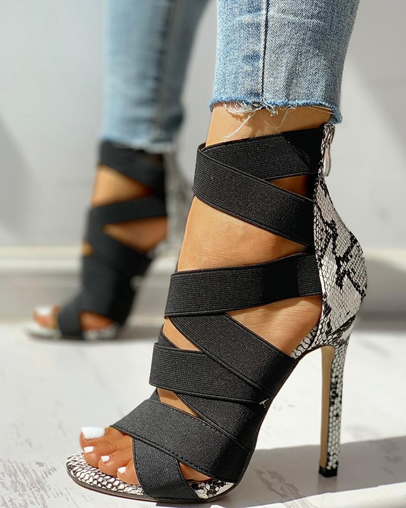 Lace-Up Bandage Patchwork Snakeskin Thin Heeled Sandals Black Party sexy fashion open toe shoes divac