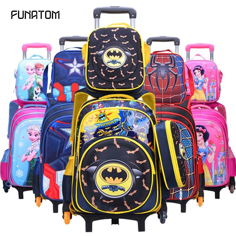Batman enfants roulant cartable 3 pièces/ensemble enfants enfants sacs d'école avec roue chariot bagages pour garçons filles sac à dos
