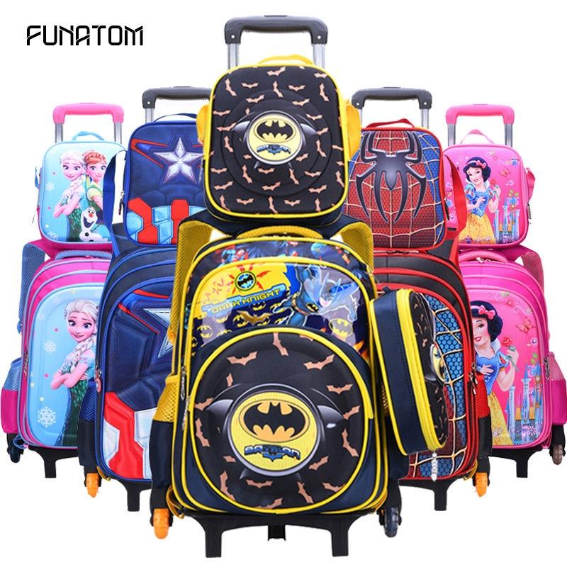Kids Rolling School Bag 3pcs/set Children Kids School Bags With Wheel Trolley Luggage For Boys Girls Backpack