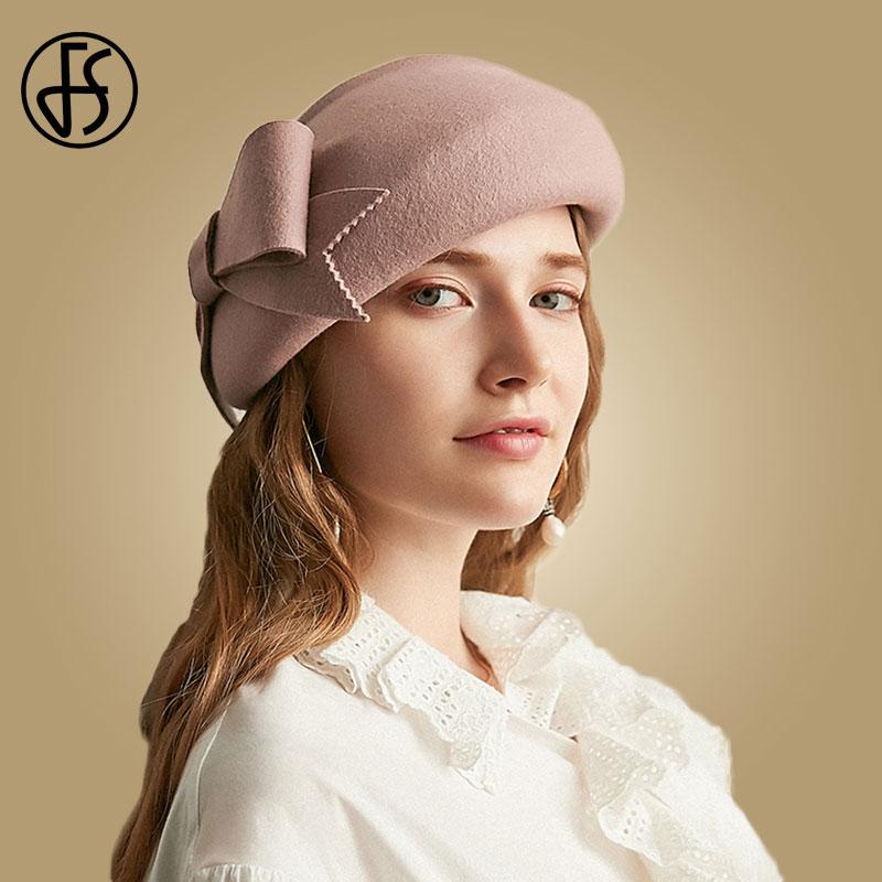 FS Pink Wool Hat For Women Winter Berets Cap Elegant Bow Wide Brim Fedora Vintage Black Felt Cloche Church Hats Sombrero