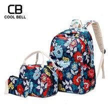 Chinese Style Print Women Backpack 3pcs/set Bag Nylon Waterproof School Sports Bags For Teenager Girls