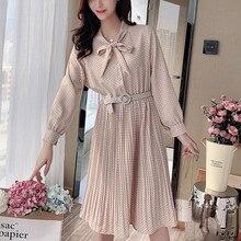 цена на Korean chiffon dress women Polka Dot dresses women Pleated Dress plus size woman high waist midi dresses vestidos verano 2020