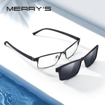 MERRYS DESIGN 2 In 1 Magnet Polarized Clip On Glasses Frame Men Optical Myopia Prescription Eyeglasses Frame TR90 S2728 Apparels Sunglasses