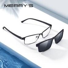 MERRYS tasarım 2 In 1 mıknatıs polarize klip gözlük çerçevesi erkekler optik miyopi klip gözlük erkekler için gözlük çerçevesi TR90 s2728