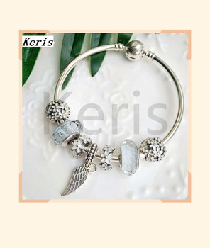 High Quality Original 1:1 100% Silver Angel Wings Glass String Bracelet With Free Package