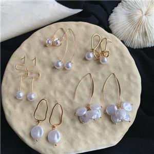 AOMU-Korean-Geometric-Irregular-Metal-Long-Tassel-Earrings-Dangle-Earring-For-Women-Natural-Pearl-Drop-Earring