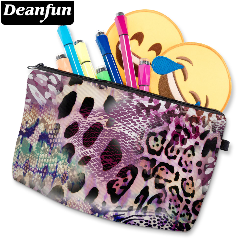 Deanfun Cosmetic-Bag Leopard Women's 3D Zipper Polyester D51470 Printed Colorful Durable