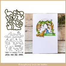 Anteater Butterfly Balloon Wish You Have Happy Days Letter Sentence Metal Cutting Dies Combine Match Clear Silicone Stamps Cards