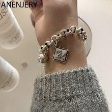 ANENJERY 925 Sterling Silver English Square Charms Bracelet for Women Ball Hip Hop Thai Silver Bracelet S-B521