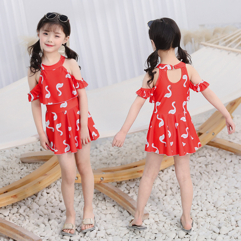 Hao Zhi Lang 2019 New Style GIRL'S Children Dress-Bathing Suit Cute Fresh Small White Goose Pattern
