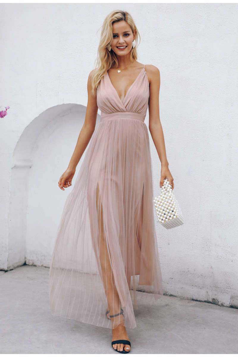 Pink Wine Navy Mesh Lace V Neck Sleeveless Maxi Dress 4