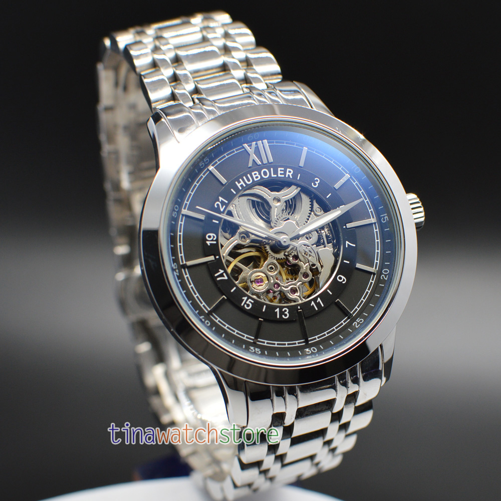 43MM Huboler Skeletonized Dial Men Automatic Mechanical Watches Mens Watch