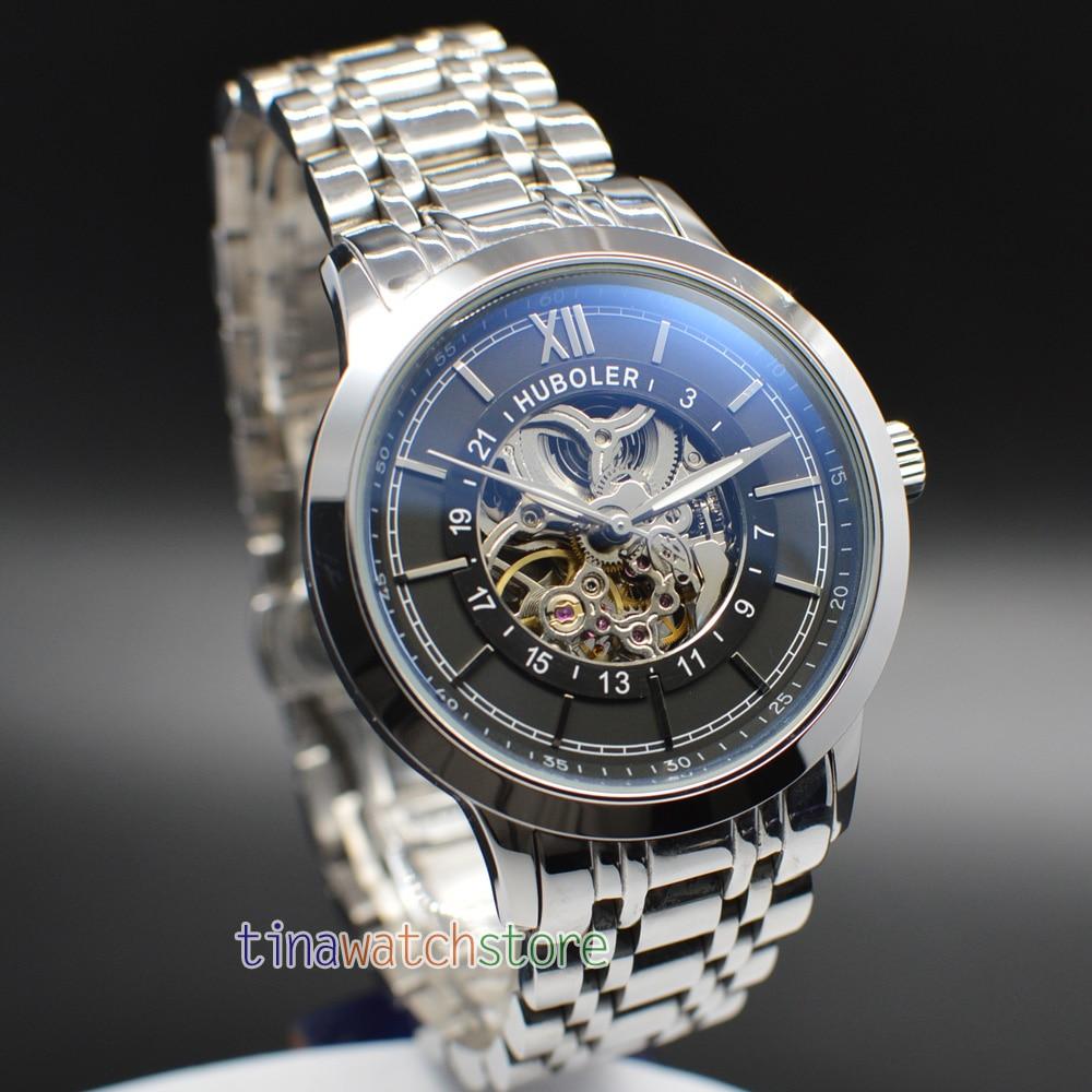 43MM Huboler Skeletonized Dial Men Automatic Mechanical Watches Mens Watch