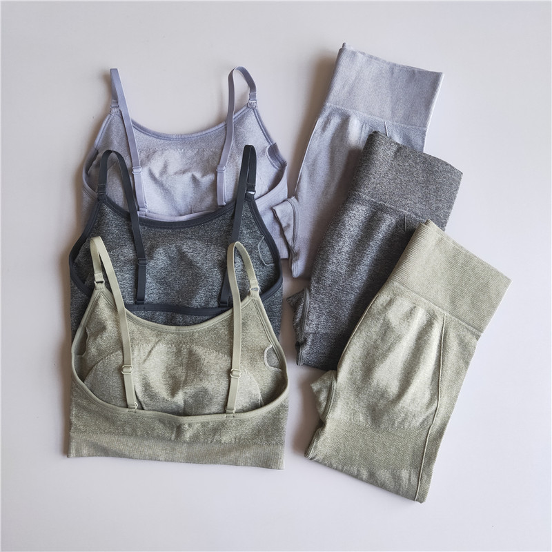 High Waist Tight Gym Leggings And Bra 2PCS Workout Sportswear Clothing Sport  Fitness Women Seamless Yoga Set