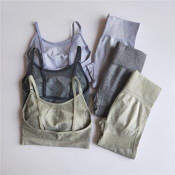Hohe Taille Engen Gym Leggings und Bh 2PCS Workout Sportswear Kleidung Sport Fitness Frauen Nahtlose Yoga Set
